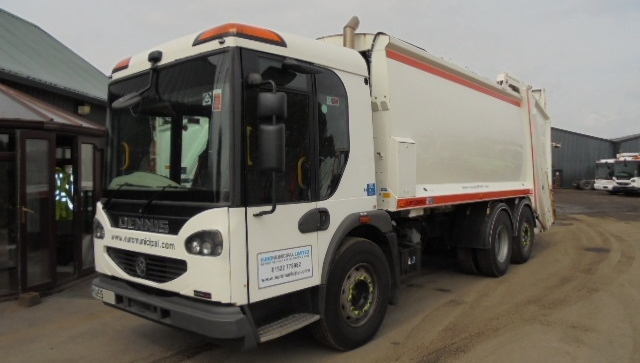 EURO 5 DENNIS REAR STEER NARROW TRACK REFUSE TRUCK WITH TERBERG LIFT