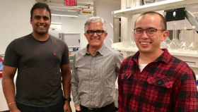 From left, Akshay Deshmuk, professor Menachem Elimelech, and Jay Werber of Yale University, have studied the energy-saving effects of batch processes in reverse osmosis