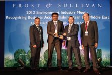 ACWA Emirates Director and General Manager, Gary Jackson (second from right) receives the award from Y. S. Shashidhar of Frost & Sullivan International, flanked left by Raied El Shanti ACWA's Chief Officer, Corporate Sales and Strategy and right Luis Fernandez ACWA Emirates Chief Officer Concessions for the MENA region.
