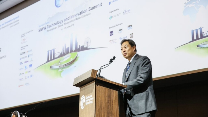Ng Joo Hee, chief executive of PUB, Singapore's national water agency, addresses Singapore International Water Week (2015).