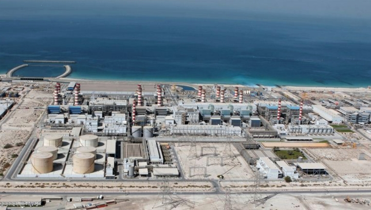 Dubai's Jebel Ali power station site currently produces 636,000 m3/d of water from eight desalination units