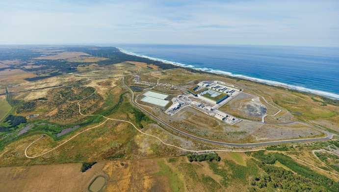 The Victorian Desalination Plant is located at the southerly most tip of Australia on the Bass Coast