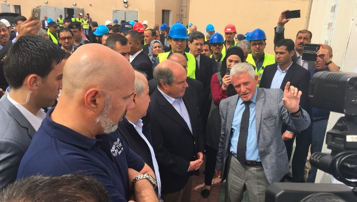 The new SWRO was opened by Jordan's prime minister, Hani Al-Mulki (centre, left), with (from left), Tarek Dehays, AquaTreat chief executive; Hazim el Nasser, minister of water and irrigation; and (centre, right) Rateb Adwan, assistant director general for quality and desalination