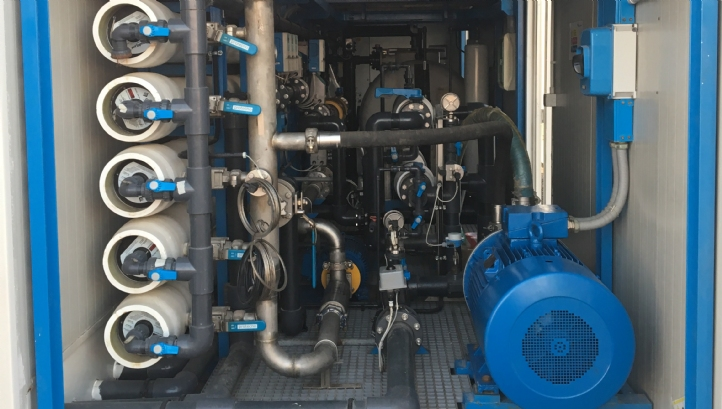 Inside Osmoflo's containerised desalination unit