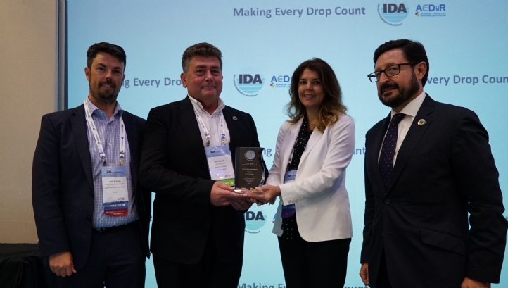 (From left) Mike Dixon, IDA director; Dr Val Frenkel, Greeley and Hansen; Shannon McCarthy, IDA secretary general; and Miguel Angel Sanz, IDA president