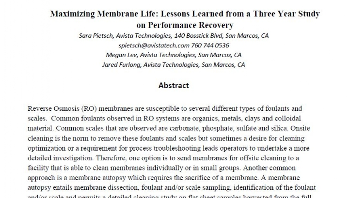 MAXIMIZING MEMBRANE LIFE: LESSONS LEARNED FROM A THREE YEAR STUDY ON PERFORMANCE RECOVERY.