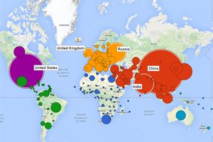 The map visualises how global emissions have developed over time and provides a snapshot ahead of the EU climate talks