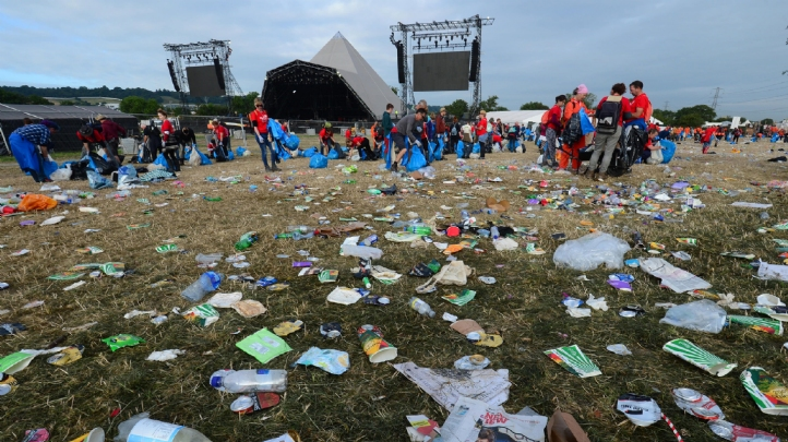 Pictured: Glastonbury in 2017, before its plastics 'ban'. Image: Glastonbury