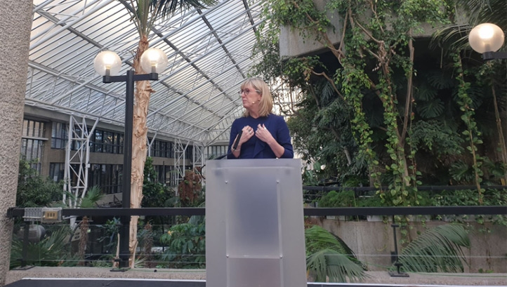 Pictured: The National Trust's director-general Hilary McGrady unveiling the new strategy at the Barbican Centre in London