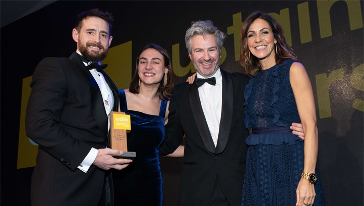 Pictured: Compere Julia Bradbury (right) presents the Ella's Kitchen team with their award