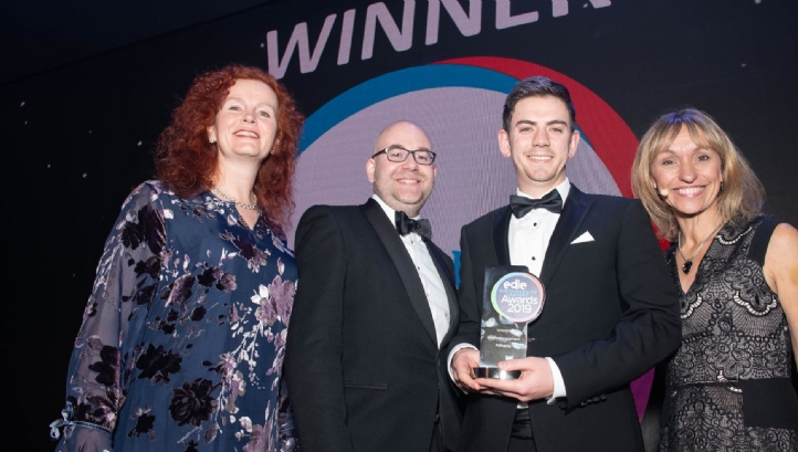 Benedict Orchard (centre-right) and Richard Carter (centre left) collecting the Water Management Award from Michaela Strachan(right) and Anya Ledwith (left)