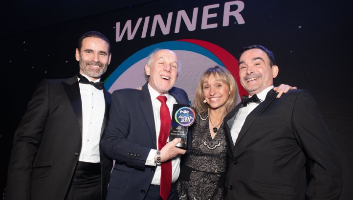 (L-R) Presenter Vincent de Rul, energy solutions sales director, EDF Energy, Norwich City Council's Kevin Maguire, compere Michaela Strachan and Norwich City Council's Richard Willson