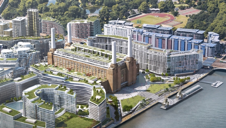An artist's impression of how Battersea Power Station will look once redevelopment works are completed