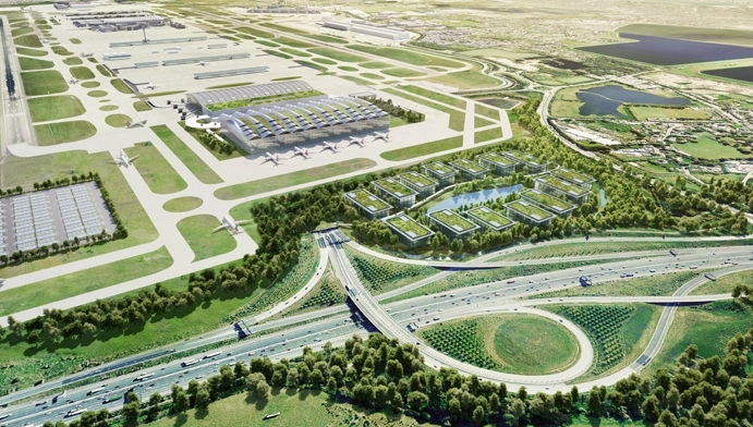 An artist's impression of Heathrow Airport after the development of the third runway