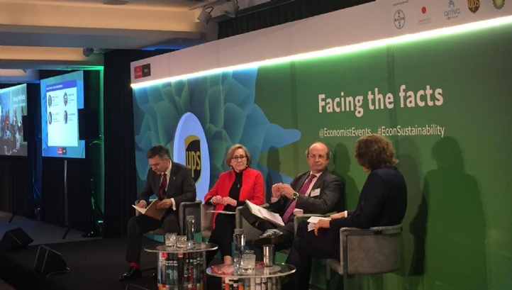 (L:R) Veris Environmental Finance's chairman James Atkins; CISL founder and director Polly Courtice; he European Commission's director general for the environment Daniel Calleja Crespo and The Economist's business editor Jan Piotrowski
