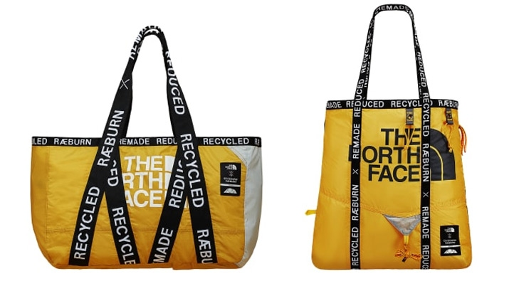 Each product will vary in aesthetics as different The North Face tents have been recycled and reused across the entire collection