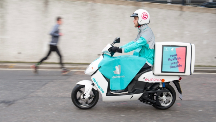 The scooters will be stored and recharged at Elmovo's rental station in Marylebone . Image: Deliveroo via roocommunity.com