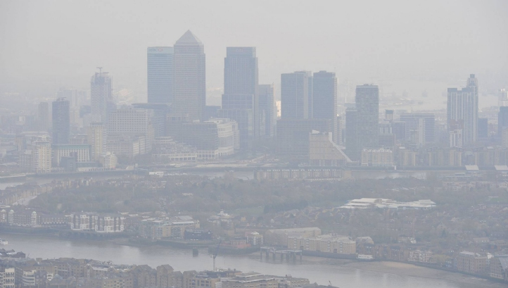 Failures to meet air pollution regulations cost the EU economy €24.6bn, the study found Pictured: London, where 10 air pollution alerts have been issued since May 2016