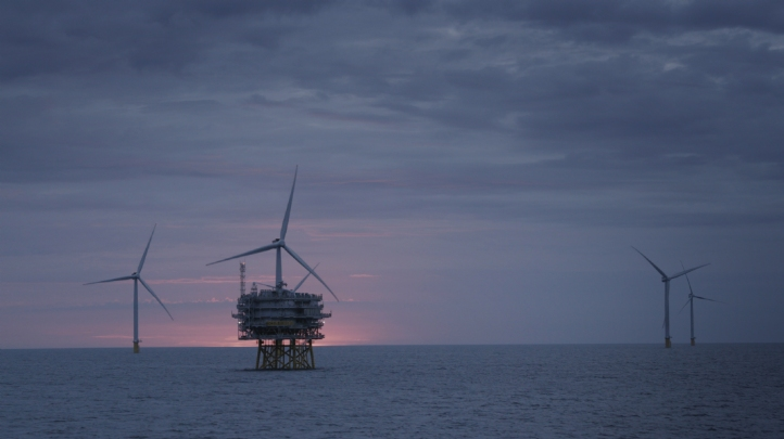 <p>Pictured: Norfolk's Race Bank wind farm was commissioned last year and is capable of generating 573MW of renewable energy</p>
