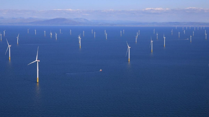 Pictured: Cumbria's Walney Extension wind farm, the largest offshore wind array in the world