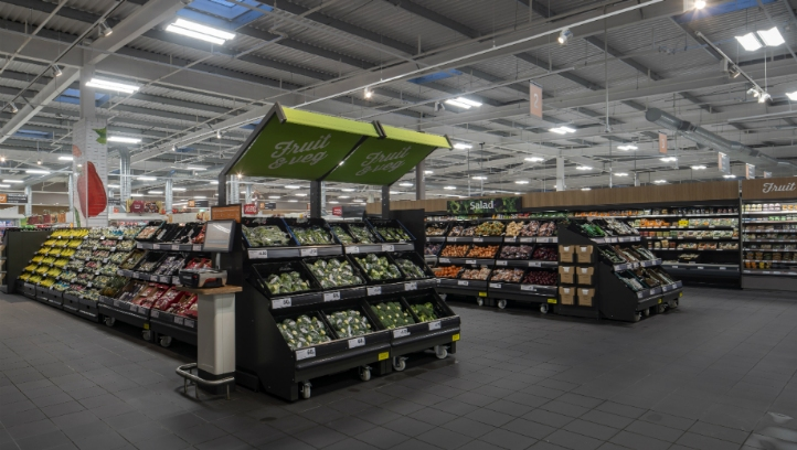 The switch will be made immediately for produce aisles, and by September for in-store bakeries