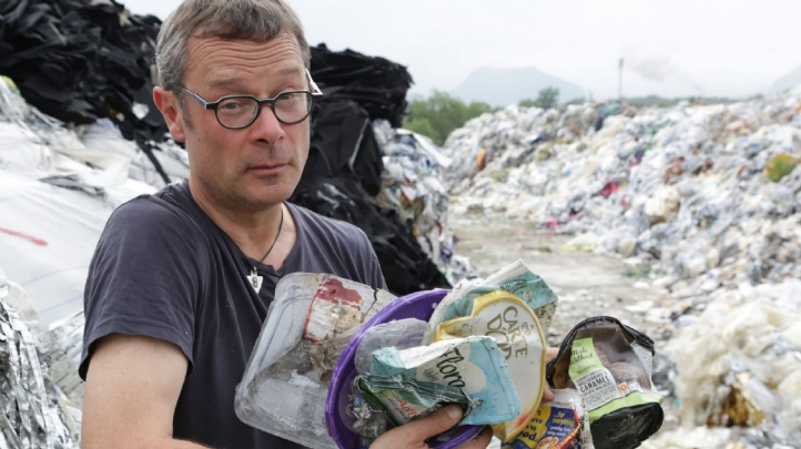 During a trip to Malaysia, Fearnley-Whittingstall found numerous pieces of plastic pollution which originated in UK supermarkets. Image: BBCBBC/KEO Films/Tom Beard