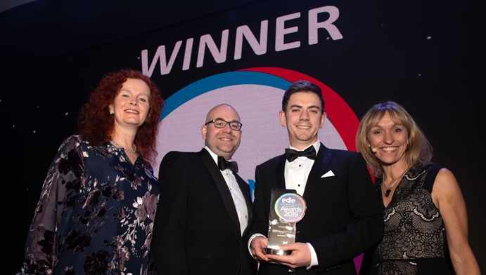 Benedict Orchard (centre-right) and Richard Carter (centre left) collecting the Water Management Award at edie's Sustainability Leaders Awards 2019