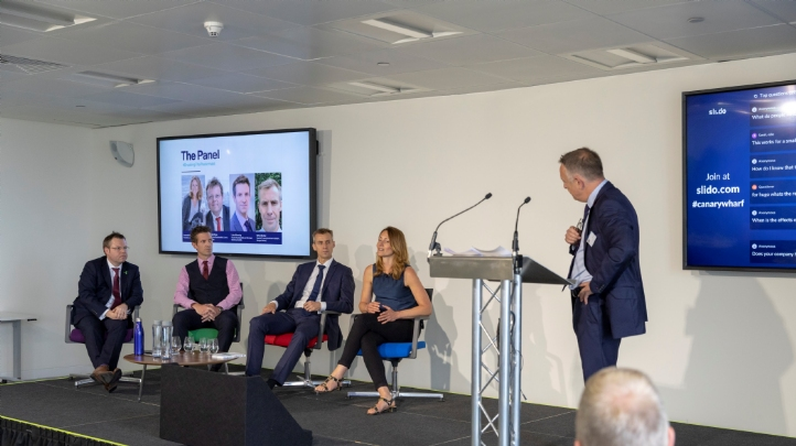 (L-R): CWG's head of sustainability Martin Gettings; Refinitiv's head of sustainability Luke Manning; Morgan Stanley's vice president Dylan Bexley and Less Plastic's founder Amanda Keetley discuss the future of the war on plastics