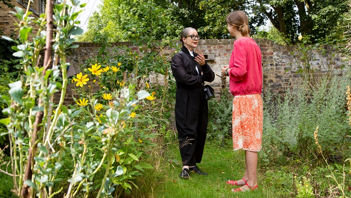 Pictured: Goldsmiths' new warden Professor Frances Corner (L) speaking to allotment coordinator and senior lecturer for fine arts Dr Ros Gray (R). Image: Goldsmiths, University of London
