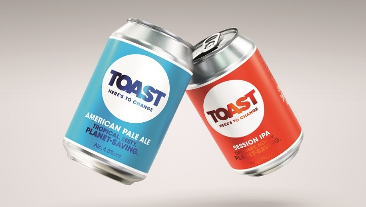 The rebrand marks the first time Toast Ale has used bright colours – and its first foray into canned beverages