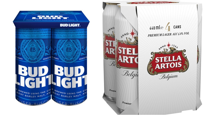 "The company claims the switch will have ""a significant impact in reducing plastic from supermarket beer shelves"". Image: AB Inbev"