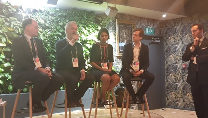 (L-R): BlackRock fund manager Evy Hambro; Ellen MacArthur Foundation chief executive Andrew Morlet; BlackRock fund manager Sumana Manohar and The Ellen MacArthur Foundation's executive lead for plastics, fashion and finance, Rob Opsomer.