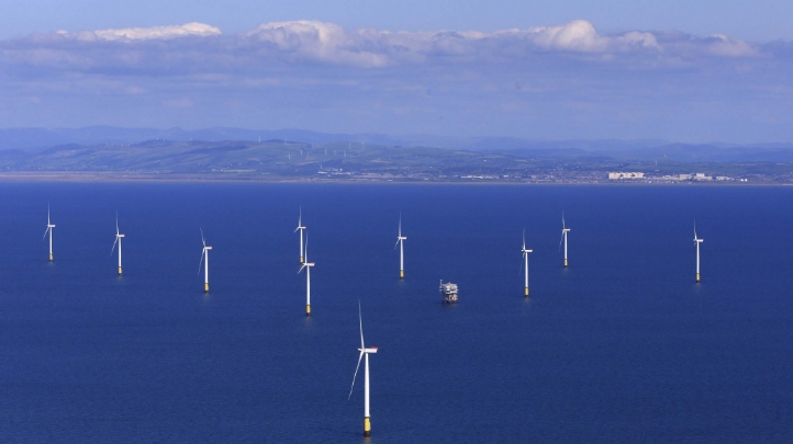 Pictured: The Walney Extension offshore windfarm off the coast of Blackpool. Image: Orsted.