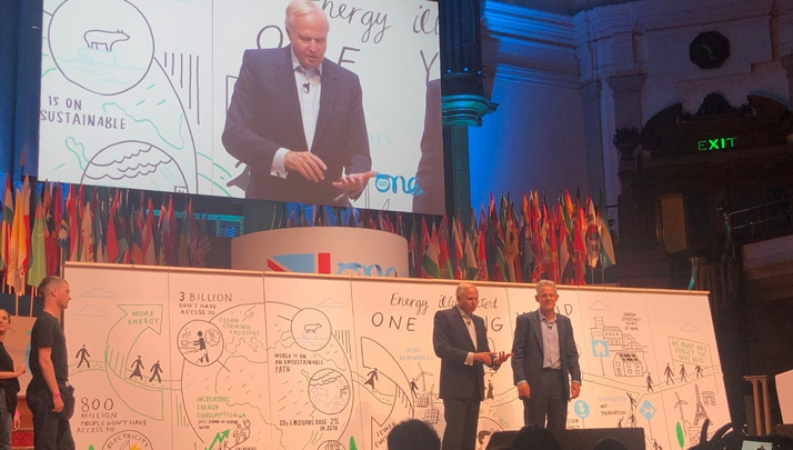 BP's chief executive Bob Dudley and group chief economist Spencer Dale on stage at the One Young World summit