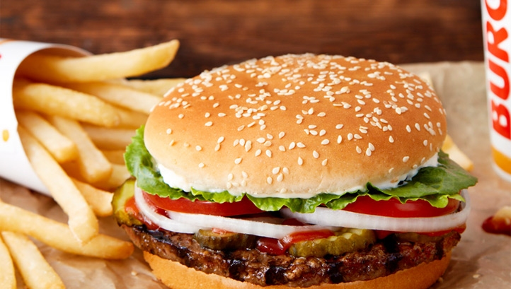 The plant-based Rebel Whopper contains 408 calories, while the beef version comes in at 460. Image: Burger King