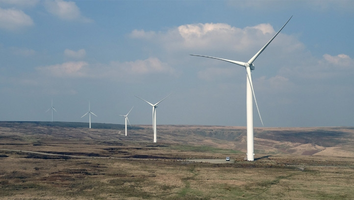 In recent years, Tory policy has prioritised offshore wind over onshore wind and solar. Pictured: Scout Moor wind farm, Rochdale. Image: Stephen Gidley CC BY 2.0
