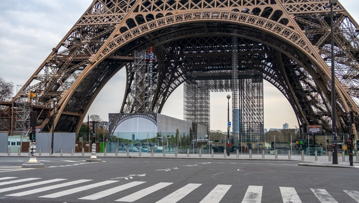 The empty streets of Paris as a result of the lockdown, which is only starting to be lifted in the country