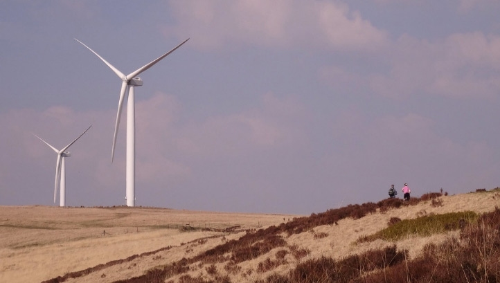 Onshore and offshore wind each accounted for 10% of total domestic generation, the figures show. Pictured: Scout Moor wind farm