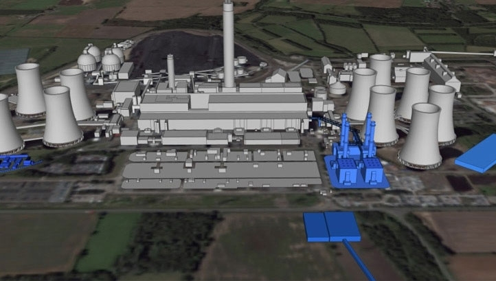 Pictured: A CGI mock-up of the proposed plant. Image: Drax