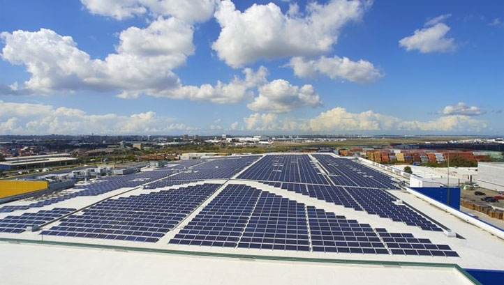 Pictured: Solar panels on an Ikea store in Sydney, Australia