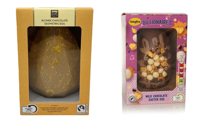 Pictured: Two of Aldi's Easter lines with new packaging. Image: Aldi UK
