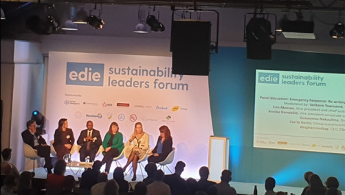 Pictured L-R: ClimateCare CEO Vaughan Lindsay; IFC director Ousseynou Nakoulima; Interface's Erin Meezan; Vattenfall's Annika Ramskold and Futerra's Solitaire Townsend discussing how businesses can respond to the climate emergency.
