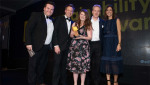 Pictured: Compere Julia Bradbury and edie's insight editor James Evison (left) present the Kaluza team with the award