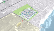 A computer generated helicopter view of the proposed site of the new mega-size desal plant at Rosarito Beach, which is adjacent to the Rosarito Power Plant
