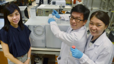 Professor Ghim Wei Ho (left), with Dr Connor Peh Kangnuo (centre), and researcher Gao Minmin, in their laboratory at the National University of Singapore