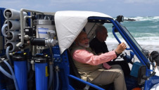India's prime minister Narendra Modi (left), and Israeli prime minister Benjamin Netanyahu, aboard a Galmobile desalination unit on Olga Beach, Israel