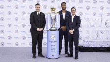 (from left) City Football Group senior vice president of partnership Damian Willoughby; legendary Man City player Joleon Lescott; and Xylem chief executive Patrick Decker