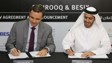 Besix Middle East executive vice president Olivier Crasson (left) and Shurooq executive chairman Marwan Al Sarkal sign up to the joint venture