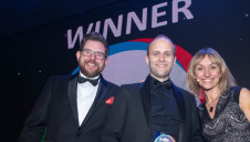 (L-R) Presenter Mike Pitts, interim challenge director, Innovate UK, Mitsubishi Electric's Marc Overson and compere Michaela Strachan