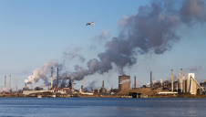 Industrial emissions in the harbor of Ijmuiden, The Netherlands